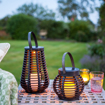 Picture of Set of 2 Rattan Solar Powered LED Garden Lanterns
