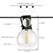 Picture of Led String Lights 2x18Ft 2x10 Hanging Socket with 2x10 Globe Vintage LED Bulb 1W 2700K Warm White IP45 Waterproof Indoor Outdoor Light String for Backyard Party Porch [Energy Class A+]