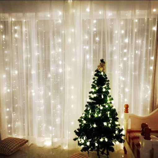 Picture of Window Curtain Icicle String Lights of 300LED for Christmas Xmas Wedding Party Home Decoration Fairy Lights Wedding Party Home Garden Decorations 3m*3m(White) (Upgraded Low Voltage) [Energy Class A+++]