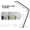 Picture of Portable LED Desk Lamp, Foldable Table Light with built-in 2800mAh Rechargeable Battery, USB Charing Port, Touch Control, Stepless Brightness, For Reading Working Travel - Black + White