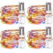 Picture of 4 PCS Fairy String Lights 50 LED 8 Modes Battery Operated Remote Control Twinkle Copper Wire Light Waterproof Bottle Rope Light for DIY Wedding Christmas Tree Party Bedroom Decoration Color