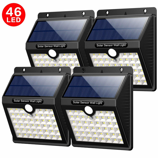 46 LED Solar Lights Outdoor Solar Security Lights Motion Sensor 1800mAh,  Pack of 4, Black