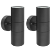 Picture of 2 X Black Stainless Steel Double Outdoor Wall Light IP65 Up Down Garden Wall Lamp