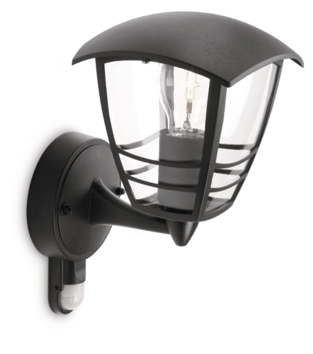 Picture of MyGarden Creek Outdoor Wall Light with Motion Sensor (Requires 1 x 60 W E27 Bulb) - Black