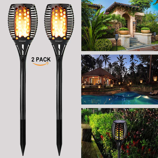 Picture of Solar Flame Lights Garden Outdoor Solar Powered Lights - 96 LED Flickering Flame Solar Torch Light Dusk to Dawn Auto On/Off - IP65 Waterproof Solar Lights for Garden Landscape Lighting - 2 Pack