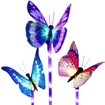 Picture of Garden Solar Lights Outdoor - 3 Pack Solar Stake Light Multi Color Changing LED Garden Lights, Fiber Optic Butterfly Decorative Lights, Solar Powered Stake Light with a Purple LED Light Stake
