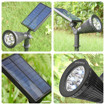 Picture of LED Solar Spotlights 2 Pack, Adjustable IP65 Waterproof Solar Powered Outdoor Landscape Spotlight with 8 Enhanced LEDs, Auto ON/OFF for Garden, Backyard, Lawn, Outdoor Wall and Pathway (white)