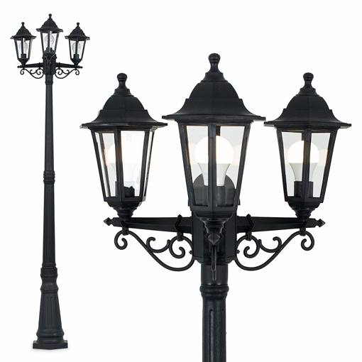 Traditional Victorian Style 195m Black 3 Way Ip44 Outdoor Garden Lamp Post Light