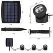Picture of Solar LED Spotlights with 3 GRB Lamps 18 LEDs, Adjustable IP68 Waterproof Underwater Pond Lights, 3-Color Changing In-Ground Solar Powered Spotlights for Pool, Pond, Garden, Yard, Wall,Path