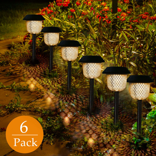 Picture of Solar Light Garden 6 Pieces LED Solar Light Warm White Solar Lantern Stake Waterproof IP44 Solar Lamp Stake Path Lighting for Outdoor Villa Lawn Walkways
