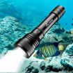 Picture of Dive Torch, 2000 Lumens LED Scuba Diving Flashlight, Rechargeable Waterproof Underwater Flash Light Torches, 150 Meters Submersible Lights with 2X 18650 Battery and Charger