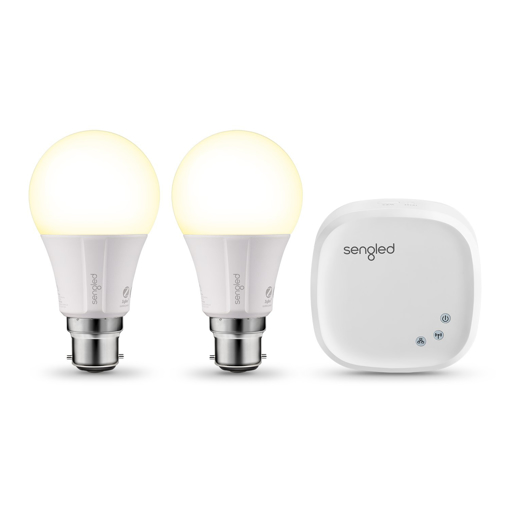 Picture of Element Classic Smart B22 Base, Dimmable LED Light Soft White 2700K 60W Equivalent, Starter Kit (2 A60 Bulbs + hub), Works with Alexa and Google Assistant [Energy Class A+]