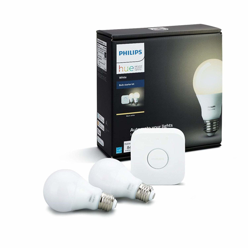 Picture of Hue White A19 E27 60 W Equivalent Smart Bulb Starter Kit (2 Hue White Bulbs and a Bridge, Compatible with Amazon Alexa, Apple HomeKit and Google Assistant) [Energy Class A+]