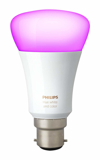 Picture of Hue White and Colour Ambiance Wireless Lighting 9.5 W B22 Bayonet Cap Richer Colours LED Bulb, Works with Alexa [Energy Class A+]