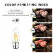 Picture of B22 LED Filament Candle Bulb,12 Pack, 4W C35 Bayonet Warm White 2700K 470Lm, Non-Dimmable, 40W Replacement Retro Decor [Energy Class A++]