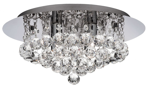 Picture of 3404-4CC 35cm Modern 4 Light Crystal Flush Ceiling Light Fitting with chrome Backplate and Requires 4 x 33watt - LED Compatible [Energy Class C]