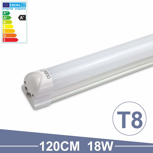 Picture of 4FT T8 Tube light LED Fluorescent Daylight 120cm Cool White 6500K Milky white cover 18W 2250Lm SMD 2835 G13 230 volts [Energy Class A+]