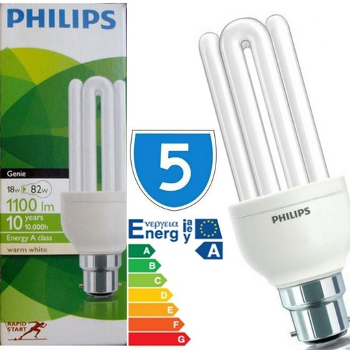 Picture of 5 x Bayonet Cap 18 Watt GENIE 18w = 60w Bulb B22 Light Bulbs Lamp Low Energy Saver Bulb Lamp Saving CFL Lamps Direct Incandescent Replacement Long Life 10,000 hours [Energy Class A]