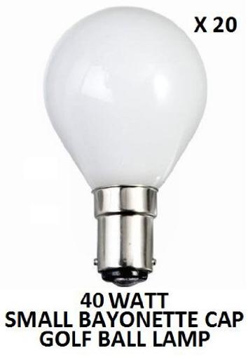 Picture of 20 X 40 WATT SBC (B15) BAYONETTE CAP PEARL GOLF BALL ROUND LAMPS LIGHT BULBS