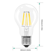 Picture of Bulb 6W E27 Filament LED Equivalent 60W Incandescent, Pack of 2 Light Bulbs 600 Lumens and 2700K Warm White, 360° Beam Angle