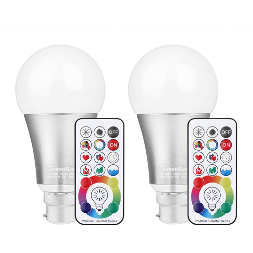 Picture of 2pcs LED Mood Light Lamp Dimmable B22 RGB White Color Changing Light Bulb with DIY remote control, 60W Incandescent Lamp Equivalent, Timing Function