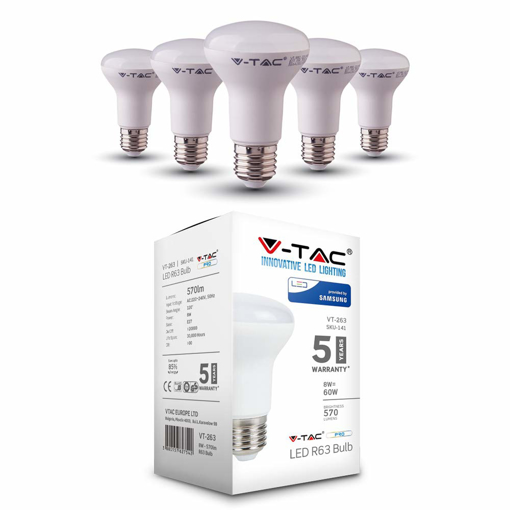 Picture of 8W (60W) Energy Saving R63 Reflector LED Bulb 60W Equivalent with LED E27 ES (Edison Screw) 3000K Warm White Colour Non Dimmable 5 Pack [Energy Class A+]