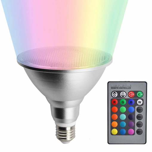 Picture of 20W E27 PAR38 RGB LED Reflector Light Bulb IP65 Waterproof, 16 Colors Changings, ES Bulb Dimmable Mood Lighting with Remote Controller for Holiday Party Conrtyard Decor (1-Pack) [Energy Class A+]