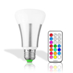 Picture of 10W E27 RGBW LED Color Changing Light Bulb with 21 Key Remote Control, 12 Multiple Colors Dimmable Mood Lighting Lamp, AC 85-265V, Pack of 10X [Energy Class A]