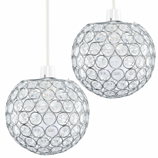 Picture of Pair of - Modern Chrome Globe Ceiling Light Shades