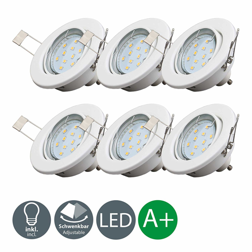 Picture of Set of 6 LED recessed ceiling lights I LED downlights