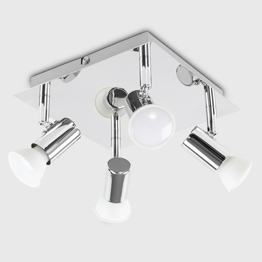 Picture of Modern Square Chrome 4 Way GU10 Ceiling Spotlight