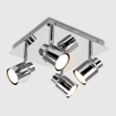 Picture of Modern Polished Chrome Square Plate Adjustable 4 Way Ceiling Spotlight