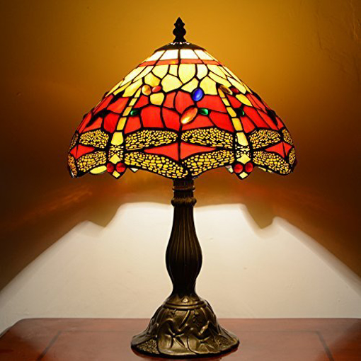 Picture of Red & Yellow Dragonfly 12inch Tiffany Table Lamp