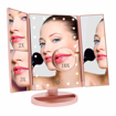 Picture of Makeup Mirror with 21 LED Lights Tri-Fold Illuminated Vanity Mirror