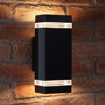 Picture of Auraglow Indoor/Outdoor Double Up & Down Wall Light - Black - Warm White LED Bulbs Included
