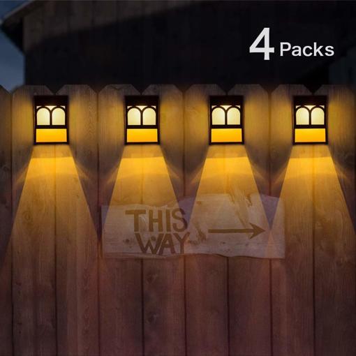 Wuhuhai Solar Fence Lights Solar Led Outdoor Wall Lights For Deck 2 Modes Room Lighting Street Lighting