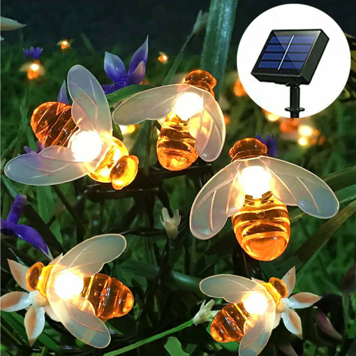 Picture of Solar String Lights, 8 Modes 30 LED Honey Bee Fairy Lights Solar Powered Waterproof