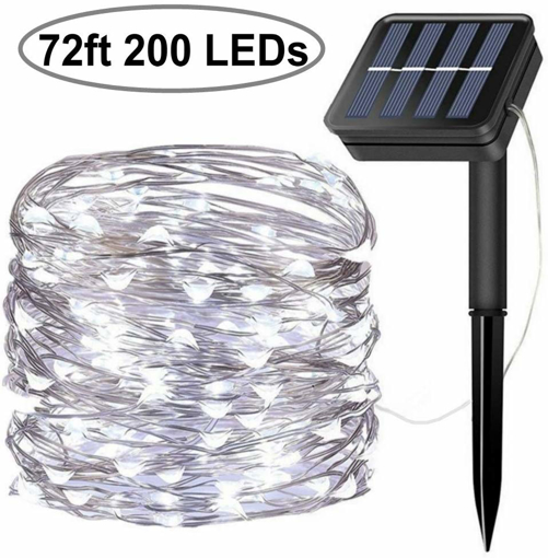 Picture of Solar String Lights, 200 LED Solar Fairy Lights 72 feet 8 Modes Silver Wire Lights Waterproof