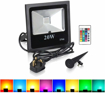 Picture of T-SUNRISE 20W RGB Flood Lights, IP65 Waterproof 16 Colours & 4 Modes, UK 3-Plug & Remote Control, Colour Changing LED Security Light