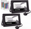 Picture of Novostella 2 Pack 15W LED RGB Flood Light DEKRA Tested, Coloured Floodlight with Remote Control, IP66 Waterproof, Dimmable Decorative Garden Light