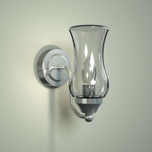 Picture of Bathroom Chrome & Curved Glass Wall Lantern Fitting