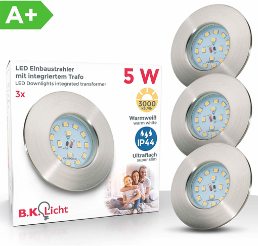 Picture of B.K.Licht LED bathroom spotlight, built-in 5W LED board, recessed downlights, ceiling lighting
