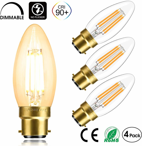 Picture of LEDORA LED B22 Bayonet Cap Filament Candle Bulb Dimmable