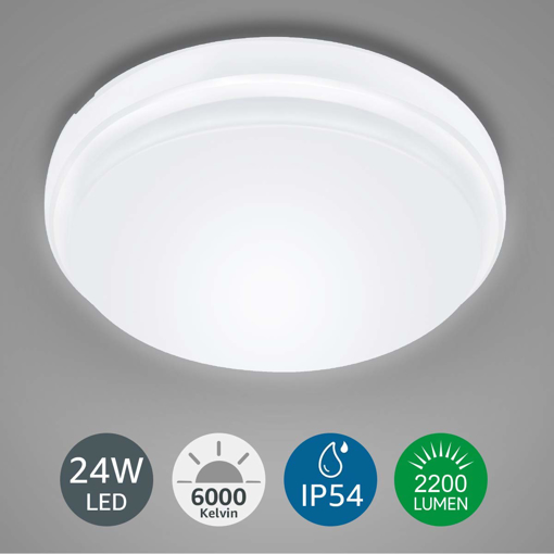 Picture of Ceiling Light Waterproof IP54, 24W 2200lm, Daylight White 6000K, Flush Mount