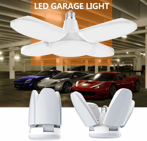 Picture of LED Garage light, 48W E27 6500K 4800Lm Deformable Shop lamp with 4 Adjustable Panels, LED Ceiling light