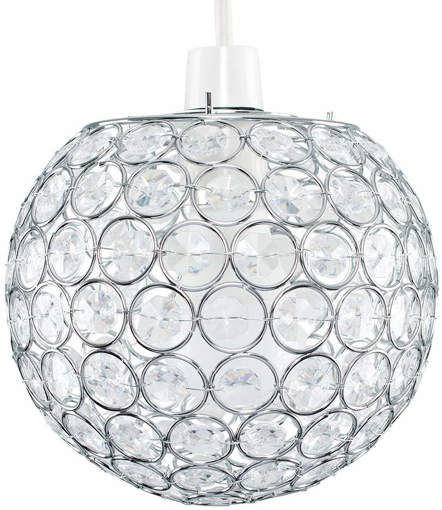 Picture of Modern Chrome Globe Ceiling Light Shade with Acrylic Crystal Effect Jewels