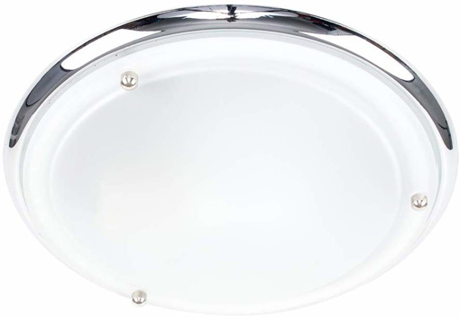 Picture of Modern IP44 Silver Chrome & Glass Flush Bathroom Ceiling Light
