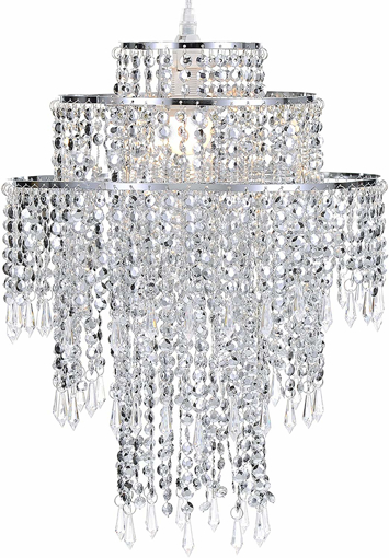 Picture of  Large 3 Tiers Chrome Sparkling Beads Pendant Shade, Ceiling Chandelier Lampshade