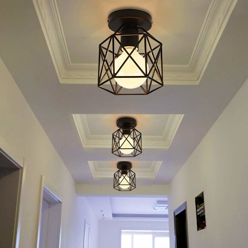 Picture of Vintage Hallway Ceiling Light, Black Semi-Flush Mount Basket Cage