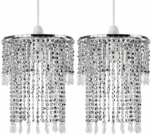 Picture of Pair of - Modern Sparkling Chrome Acrylic Crystal Jewel Bead Effect Ceiling Pendant Light Shades